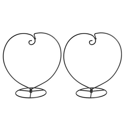 2 Stück Displayständer Eisen Herzform Moderne Schwarze hängende Glaskugelständer hängende Ständer Rack für Hausgarten Dekor
