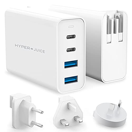 HyperJuice 100W GaN USB-C Fast Charger, 4-Port Quick Charge 3.0 PD USB C Wall Charger with Foldable Plug PIN Converters for MacBook Pro Air, iPhone XR 11 12, iPad Pro, Windows Type C Laptop, and More