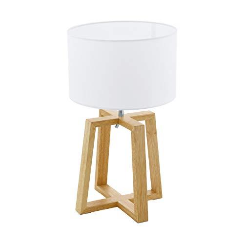 EGLO Chietino - Lámpara de mesa (1 foco, diseño Nature Design, madera, tela y acero, color blanco, natural, casquillo E27, incluye interruptor)