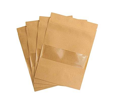 50 stuks Zip kleine bruine papieren zakjes met kijkvenster, papieren zakjes kraftpapier met bodem voor de verpakking van koffie, thee levensmiddelen en snack meer dan zadelzakjes geschenktassen.