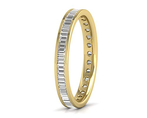 Anillo de boda de eternidad completa con diamantes talla Baguette de 1,15 quilates en oro amarillo