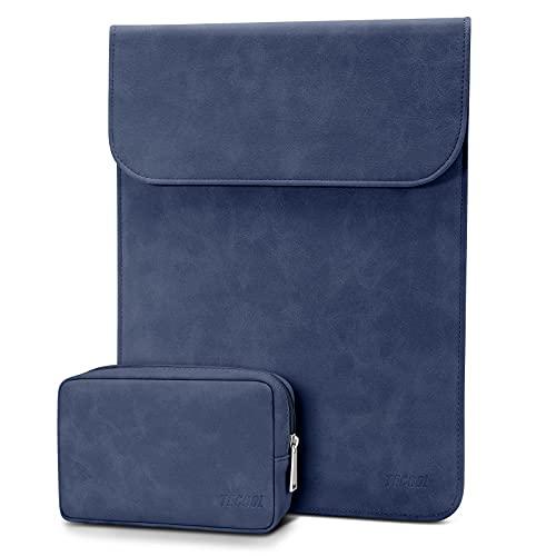 TECOOL 13-13,3 Zoll Slim Wasserdicht Laptophülle Tasche Leder für MacBook Air/Pro 13,2020 MacBook Air/Pro M1,13.5 Surface Laptop 4 3,Matebook D14,Thinkpad Yoga13,LincPlus etc Schutzhülle, Navy Blau