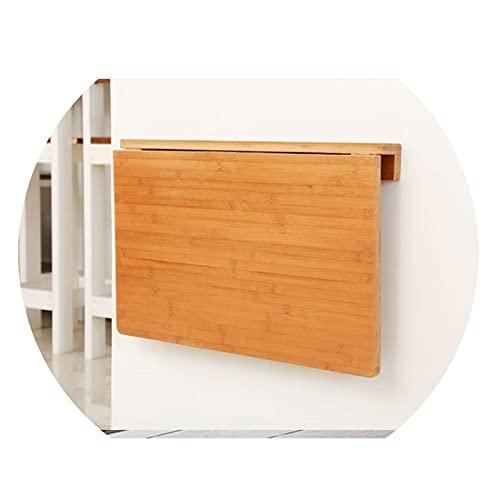 GHHZZQ Mesa De Pared Plegable, Escritorios Flotantes para Espacios Reducidos Estante De Almacenamiento Bambú Escritorio De Computadora Comedor Estable Robusto (Color : A, Size : 80x55cm)