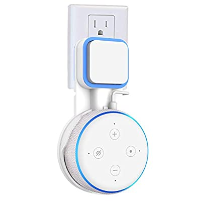 Gelink Wall Mount Hanger Holder Stand for Dot 3rd Generation, Lossless sound quality Hides the Original Long Cord without Screws, Plug Holder Compact Kitchen, Bathroom and Bedroom (White) from Gelink