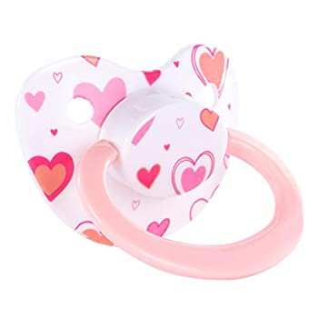 Littletude Adult Sized Pacifier Dummy for Adult Babies Large Handle Large Shield Hearts