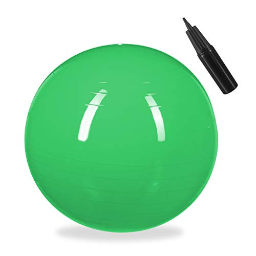 1 x Gymnastikball, Fitnessball Yoga & Pilates, Sitzball Büro, Balance Ball inklusive Luftpumpe, Ø 65 cm, grün