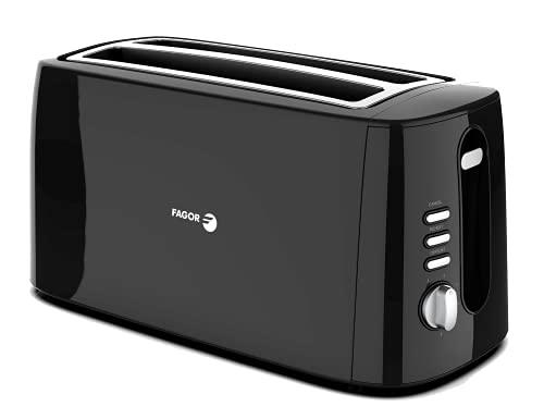 FAGOR - Tostador LONGTOAST Duo de doble ranura larga 1550W de potencia y exterior completo negro birllante. 6 niveles de tostado. 3 funciones integradas.