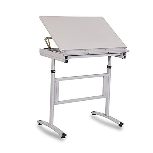 ZDAMN Mesa de dibujo para pintura de arte fino mesa de trabajo de ingeniería, mesa de dibujo ajustable, mesa de dibujo para arte (color: blanco, tamaño: 60 x 90 x 76 cm)