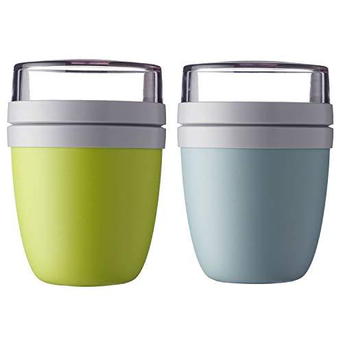 Mepal 'Ellipse' Lunchpot to go 500 ml & 200 ml, Farbe & Stückzahl:Nordic Green & Latin Lime