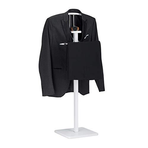 Galán de Noche, Perchero de Pie, para Pantalones, Chaquetas y Camisas, DM y Acero, 109,5 x 47 x 30 cm, Blanco