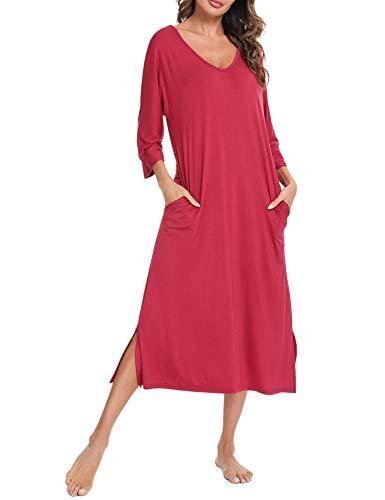 Aibrou Camisón de Mujer, Camisones Largos Mujer Algodon Camisón con Cuello en V Suelto, Camisón para Mujer con Bolsillos Manga 3/4 Pijama Vestido per Casual Estilo 1:Vino Tinto L