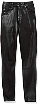 PAIGE Women s Hoxton Transcend High Rise Ultra Skinny Fit Ankle Jean Black Fog Luxe Coating 29