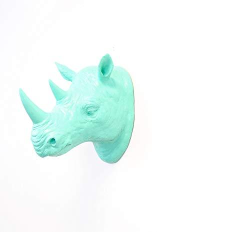 Near and Deer Faux Taxidermy Rhinoceros Head Wall Mount, Aqua/Blue