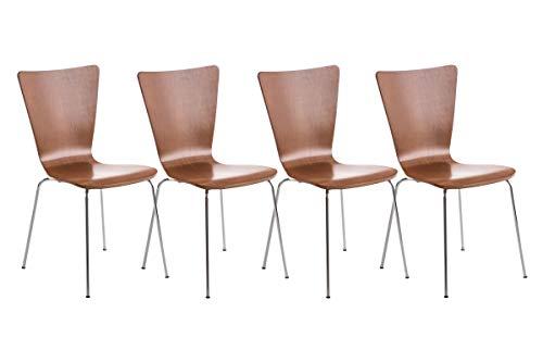 Set 4X Sillas de Visita Aaron I Juego de 4X Silla de Comedor con Asiento de Madera I 4X Silla de Cocina Apilable I Color:, Color:marrón