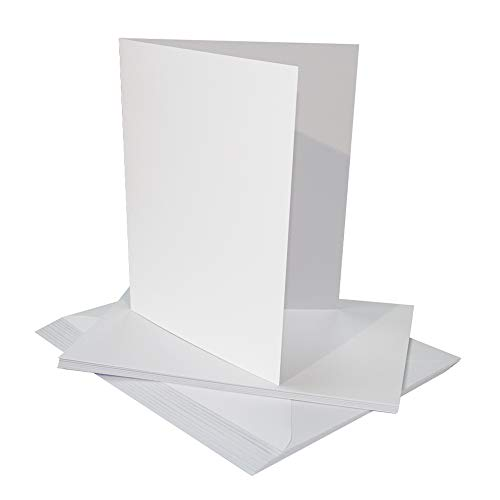 Craft UK 2258 10 x 17,8 cm Cartes et enveloppes – Blanc (lot de 25)