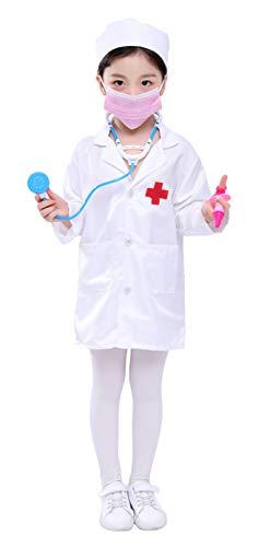 ANNISOUL Abrigo de laboratorio para niños, bata de laboratorio para proyectos científicos, capa médica para recursos de aprendizaje, juego de 5 piezas, disfraz de doctor