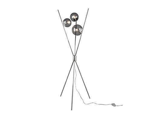 Inusual lámpara de pie LED con tres bolas de cristal ahumado e interruptor de pie, metal cromado
