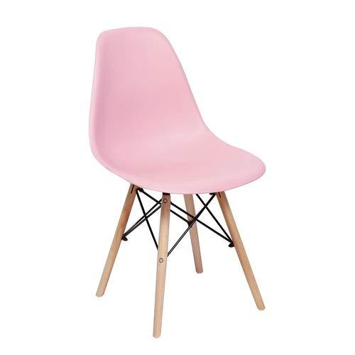 Cadeira De Jantar Charles Eiffel Eames Dsw Base Madeira Wood - Marca Inovartte - Cor Rosa