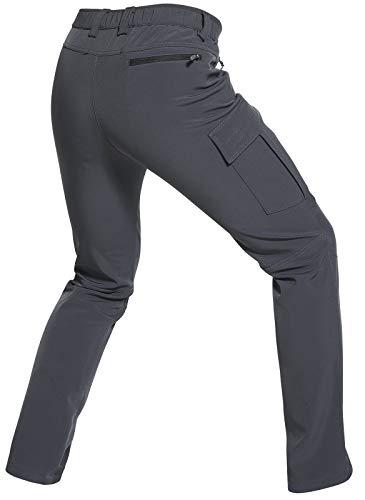 Wespornow Men's-Fleece-Lined-Hiking-Trousers Softshell-Outdoor-Walking-Trousers Waterproof-Snow-Ski-Trousers for Winter