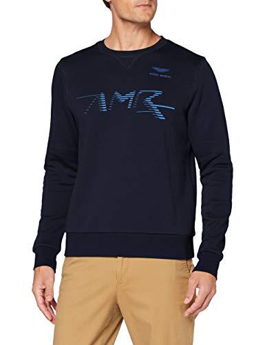 Hackett London AMR Logo Crew Sudadera, azul marino, XL para Hombre