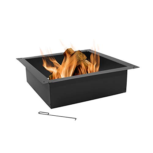 Sunnydaze Square Fire Pit Ring - Large DIY Insert - Outdoor Firepit Rim Liner Above or In-Ground - Heavy Duty 2.0mm Steel - 36 Inch Outside Diameter x 30 Inch Inside Diameter