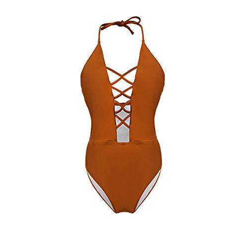 Traje de baño de Ropa de Playa para Mujer Mujeres 2 Piezas Cintura Alta Bikini Tallas Traje de baño (Color : Marrón, Size : X-L)