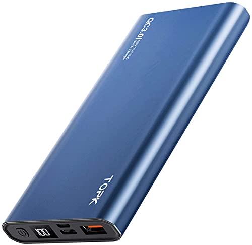 TOPK Batería Externa 10000mAh PD Carga Rápida Power Bank con Tipo C Entrada y Salida Cargador Movil Portátil, Pantalla LED Digital, para iPhone Samsung Xiaomi Huawei y más Smartphone (Blue.)