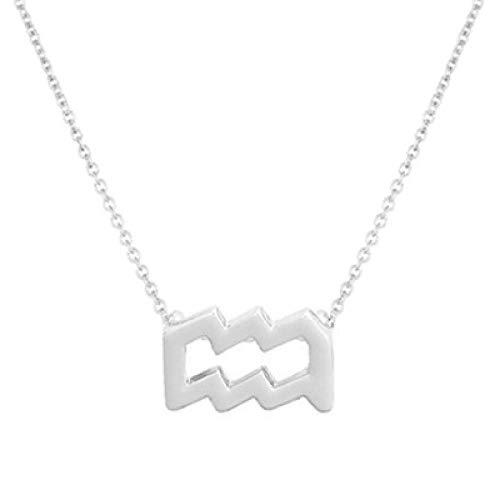 BGPOM Halskette Sommer Zwölf Sternbild Halskette Sternbild Anhänger Karte Schlüsselbein Kette, Wassermann Silber