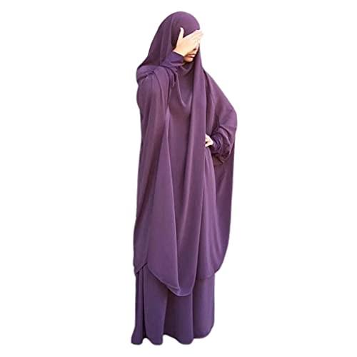 6Wcveuebuc Vestido de oración musulmana de 2 piezas para mujer, de manga larga, bufanda de hijab Khimar y falda, conjunto islámico Abaya, traje de Ramadán Eid Kaftan Robe