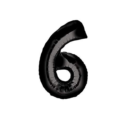 RepairMedia-Shop ★ Globo de aluminio con número 0 – 99, color negro, tamaño XXL, globos de helio para fiestas, decoración en eventos . ★ (6)