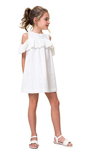 Vestido Tirantes con Volante para Niña | Vestido Niña con Brocado 100% Algodón | Ropa Infantil para Niña Vestido Ocasión (2-3 años)