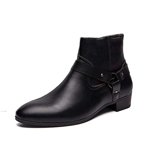 DIBAO Kettle de Silbato para la Placa de Gas Bota del Tobillo para Hombre Highschool Top Boot Slip On Style PU Cuero Hebillas de Moda Cremallera con Cumpleaños (Color : Black, Size : 45 EU)