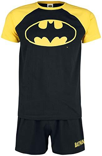 Batman Symbol Männer Schlafanzug schwarz/gelb XL