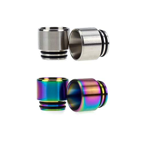 2x 810er Wide Bore Drip Tips mit Spritzschutz aus Edelstahl Silber Regenbogen Mundstücke DripTip (2 Stück, Silber + Regenbogen)
