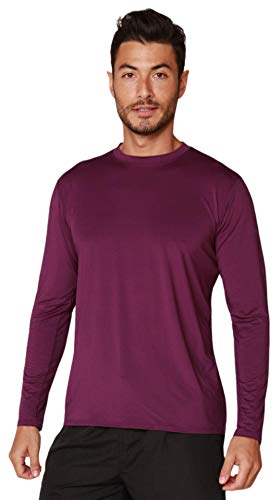 Men's Performance UPF 50+ UV/Sun Protection Outdoor Hiking Fishing Running Long Sleeve T-Shirt (Purple, Large)