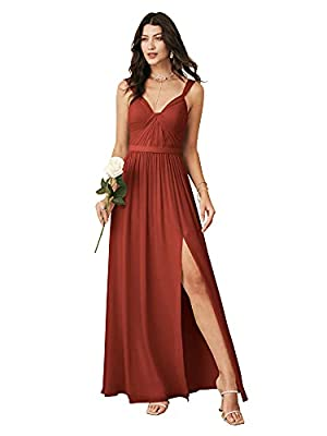 ALICEPUB V Neck Long Rust Bridesmaid Dresses with Slit for Women Chiffon Maxi Dress Formal Evening Party, US8