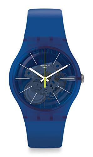 Swatch New Gent Correa de silicona de cuarzo suizo lacado, azul, 20 reloj casual (Modelo: SUON142)