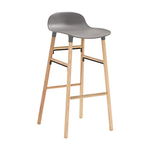 BAR STOOL Barstools Retro Chair ergonomic Barstools Breakfast Kitchen Counter Pub Chairs Solid Wood Oak Leg In Nature, 44 * 74cm (Color : Gray)