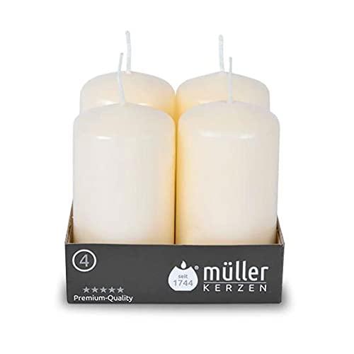 Müller - Juego de 24 velas de columna cilíndrica, color marfil, 48 x 90 mm, larga duración, aproximadamente 20 horas, cera antigoteo, sin olor, protección contra incendios BSS, calidad RAL