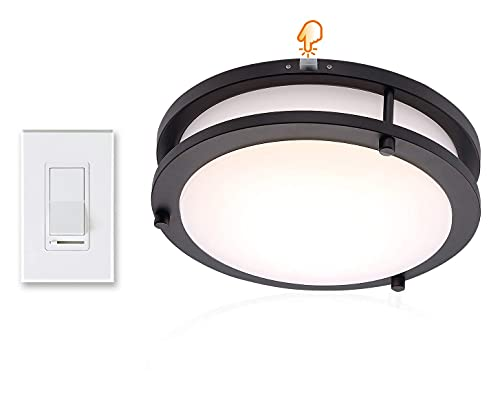Cloudy Bay 3 Way Dimmer Switch and 10 inch 3 Color LED Flush Mount Ceiling Light Oil Rubbed Bronze,Compatible Set