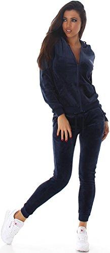 Jela London Damen Velours Jogginganzug Nicki Samt Hausanzug Jacke Kapuze & Hose, Dunkel-Blau S