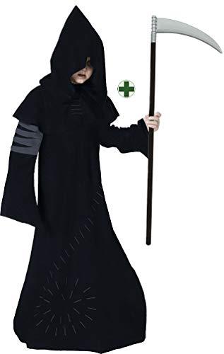 Karneval-Klamotten Sensenmann Kostüm Kinder Henker Jungen-Kostüm Gevatter Tod Grim Reaper MIT Sense Halloween-Kostüm