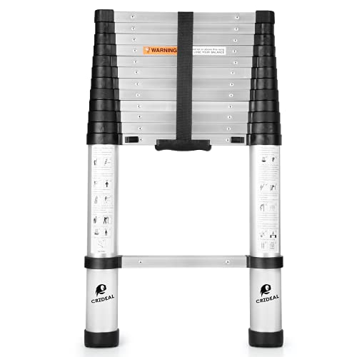 CRZDEAL Telescoping Ladder 12.5FT Aluminum One-Button Retraction Slow-Down Telescopic Extension Ladder 330Lb Capacity Collapsible Ladders for...