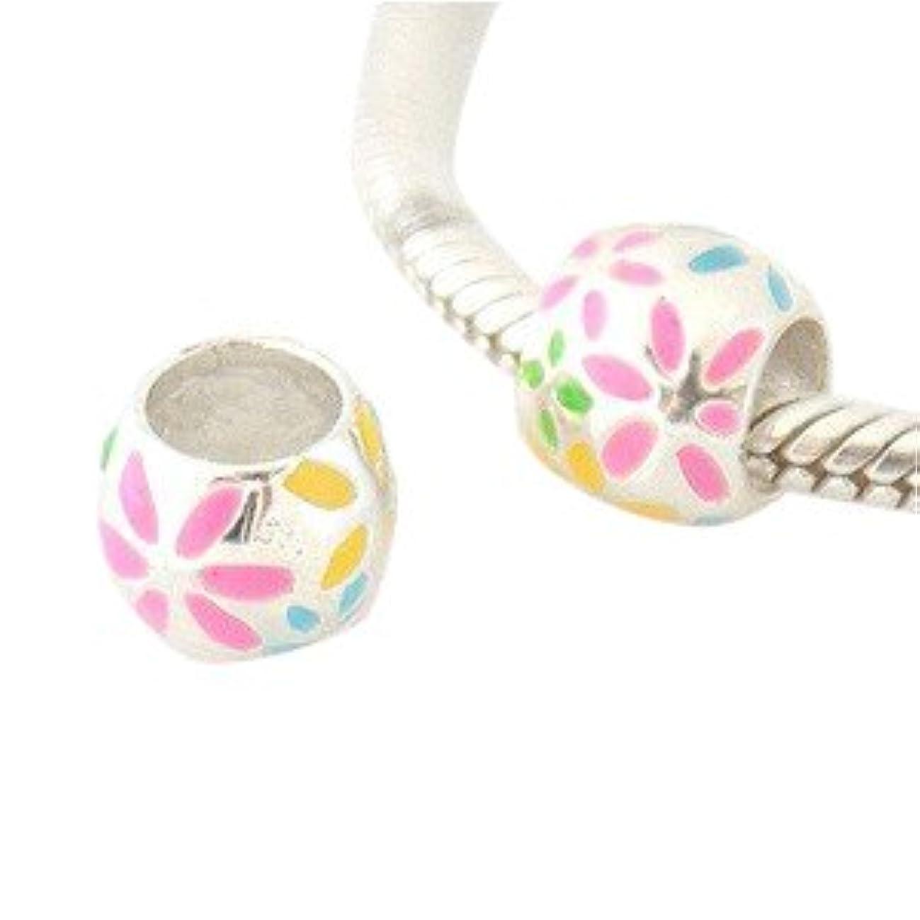 Enamal Painted Flower Ball .925 Sterling Silver Bead Charm Pandora, Chamilia, Biagi & European 3mm Chain Bracelets Compatible.