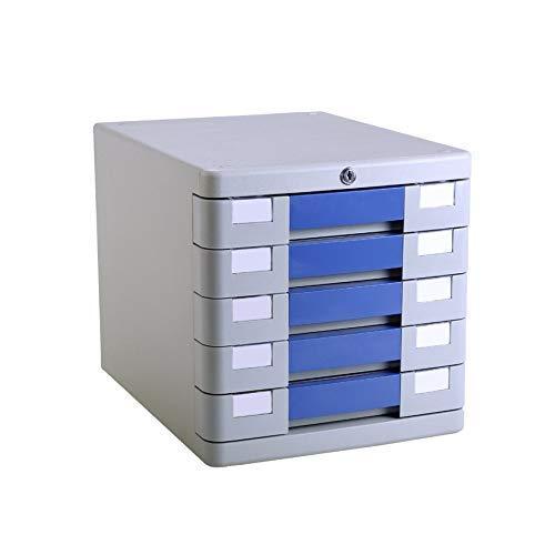 LHQ-HQ Desktop-Fach Sorter 5-Schicht mit Verschluss aus Kunststoff Schubladeninformationsbüro A4 Lagerung Blau 28,2 * 36,5 * 28.5cm Zeitungsständer