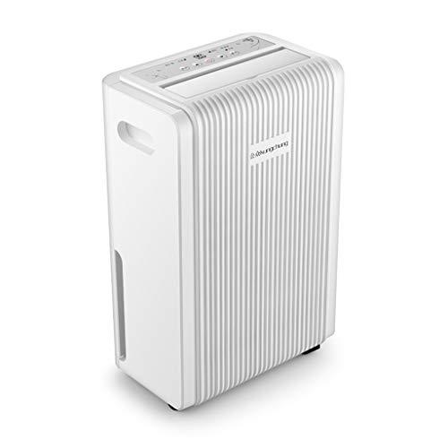 Luftentfeuchter mit digitaler Luftfeuchtigkeitsanzeige, 12L / Tag, Kontinuierliche Entwässerung, Wäschetrocknung und 24-Stunden-Timer, 2L Tankinhalt, 250W, Gegen Feuchtigkeit, Schimmel,A