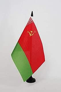 AZ FLAG Byelorussian Soviet Socialist Republic Table Flag 5'' x 8'' - Byelorussia SSR Desk Flag 21 x 14 cm - Black Plastic Stick and Base