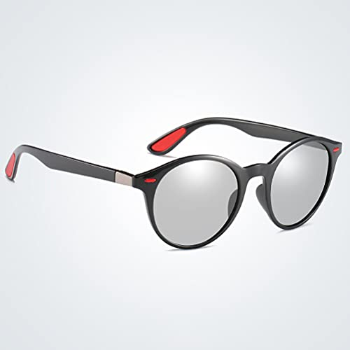 1 par de gafas polarizadas para exteriores con protección UV UV 400, redondas, para carreras, correr, pesca, montañismo, senderismo o actividades al aire libre, negro y blanco, L