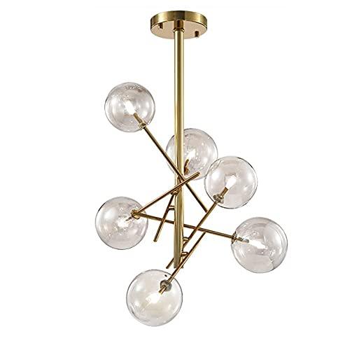 TRPYA Lámpara de iluminación de Dormitorio, Accesorios de luz de 6 Ligeros de Metal con Techo con Tono de Vidrio Transparente for Dormitorio.