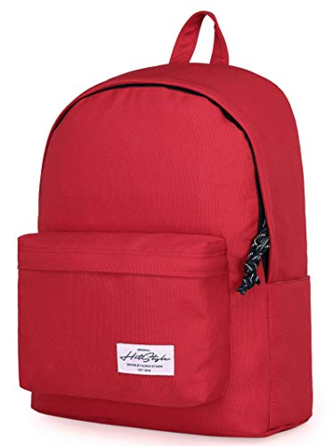 "HotStyle CANDER 15"" Simple College Backpack, Stylish Bookbag for High School Teens, Fits 15.6-in Laptop, Red"